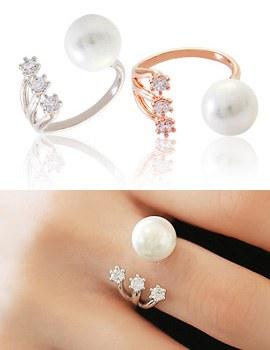 894250 - <RI403-S>純粋な真珠ポイントリング