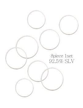 1044152 - <RI529_JC07> [8個1セット] [シルバー]クリアシンプルリング