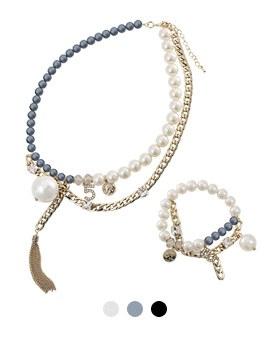 1044156 - <JS188_IH04> [ネックレス+ブレスレット]アナエル真珠セット