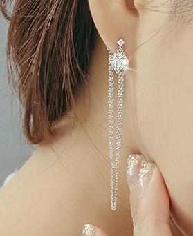 1044266 - <ER968_S> [品切れ間近】【银针]ダイヤモンドチェーン長いピアス