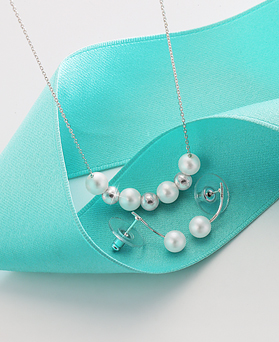 1044535 - <JS205_BD06> [ネックレス+ピアス] [シルバー]ホリデイ真珠セット