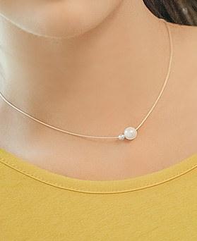 1044884 - <NE346_BD08> [シルバー]真珠痩身ネックレス