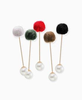 1045406 - <FI100_FH06>ポンポン真珠ブローチ
