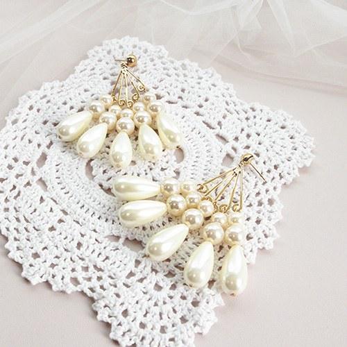 1047145 - <ER1745_CB05> [クリップ型]真珠シャンデリアピアス