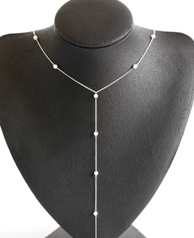 1047696 - <NE534_BF02> [シルバー]真珠ライン長いネックレス