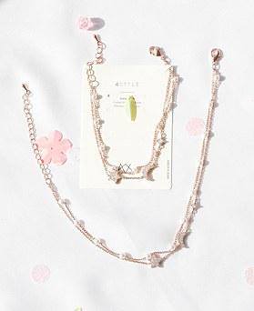 1047975 - <JS330_IA02> [ブレスレット+アンクレット]スカーレット真珠セット