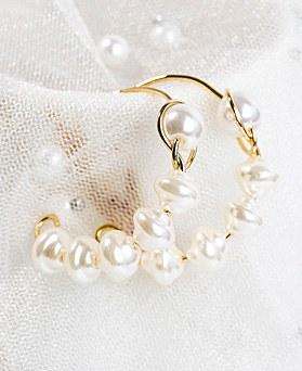 1048270 - <ER2048_DB26> [ハンドメード]純粋な真珠リングピアス