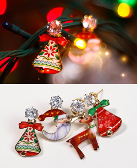 1049155 - <ER2179_DD07>クリスマスベルアンバランスピアス