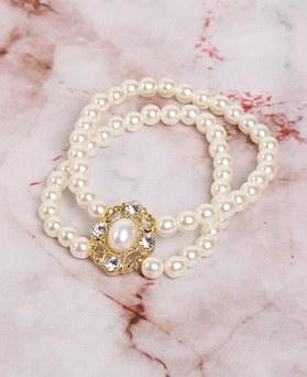 1049179 - <BC801_HH06>アンティーク2ライン真珠ブレスレット