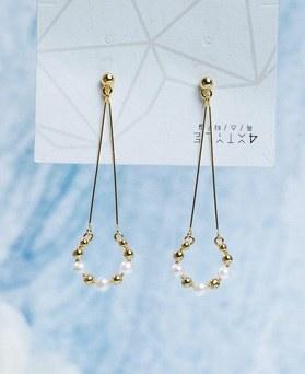 1049430 - <ER2189_DG30> 【银针]ラウンド真珠ドロップピアス