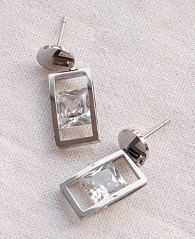 1049493 - <ER2184_DG26> [clip earring] [ステンレススチール]ラウンド正方形クリスタルピアス