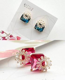 1049497 - <ER2191_DG23> [clip earring]プリー正方形クリスタルピアス