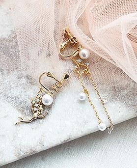 1050217 - <ER2263_DK09> [clip earring]妖精アンバランスclip earring